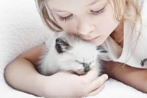 Девочка обнимает котёнка