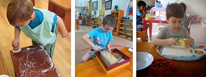 Разные упражнения практической жизни: ребёнок моет стол, забивает гвозди, чистит яблоко