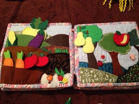 Сенсорная книга своими руками с фруктами и овощами