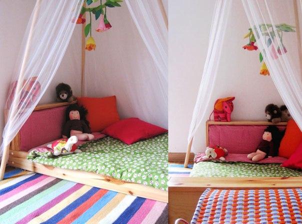 Низкая удобная кроватка с легким пологом