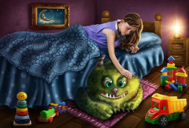 Девочка гладит монстра под своей кроватью