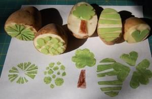 штампы для рисования из картошки