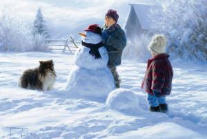 Дети на улице лепят снеговика