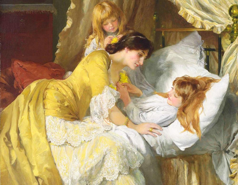 Мама укладывает дочку спать