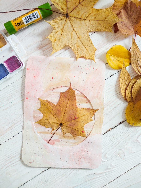 Открытка из осенних листьев своими руками, надписи картинках