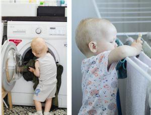 Ребёнок выгружает бельё из машинки и развешивает его на сушилке