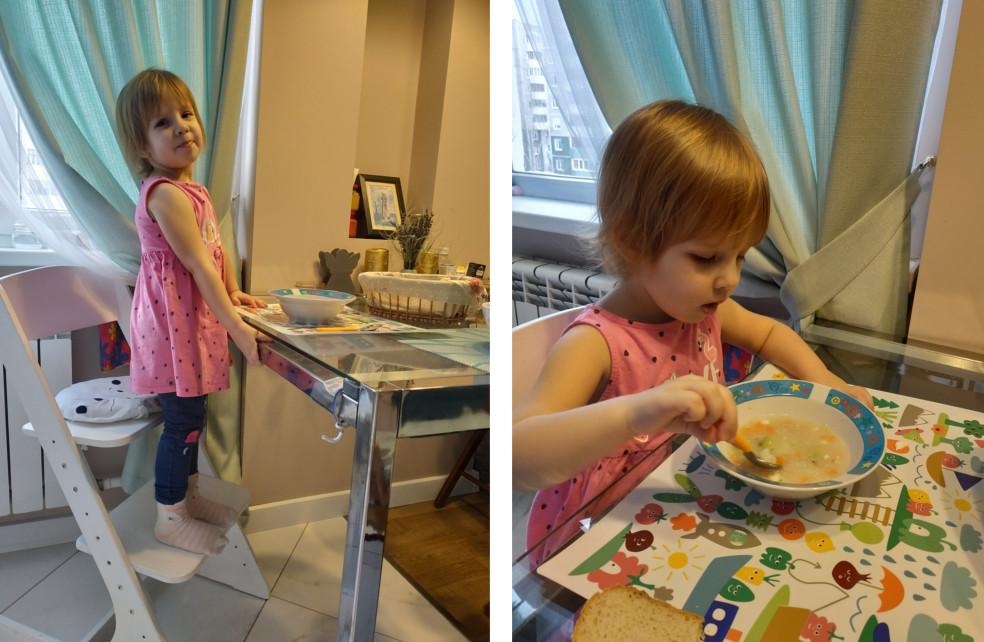 Дочь ест сама приборами