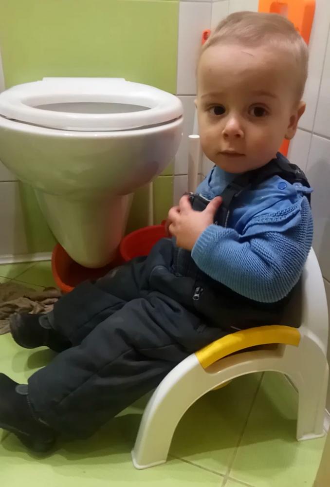 Ребёнок сидит на горшке