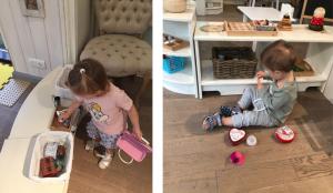 Дети играют со своими предметами, похожими на взрослые