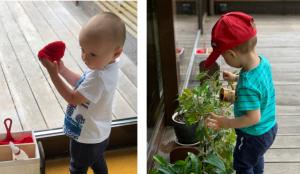 Ребёнок поливает цветы своей леечкой и моет окно с помощью перчатки