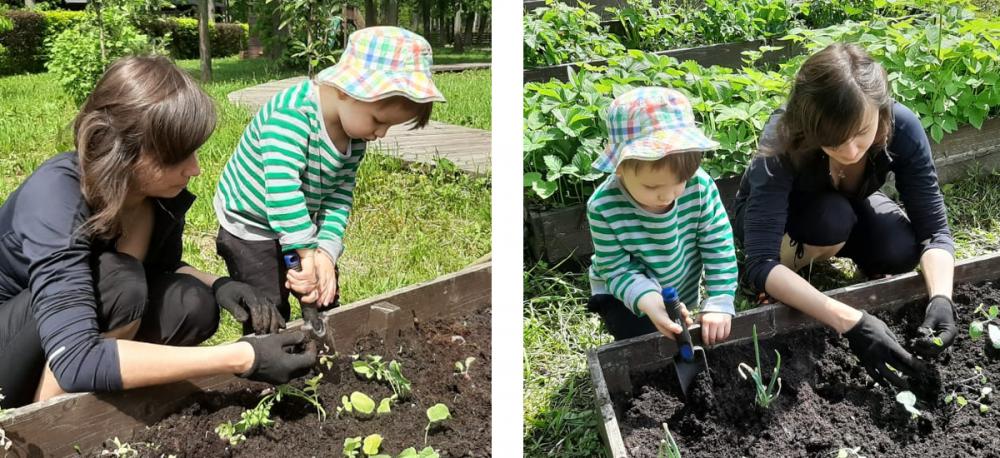 Ребёнок выкапывает лунку
