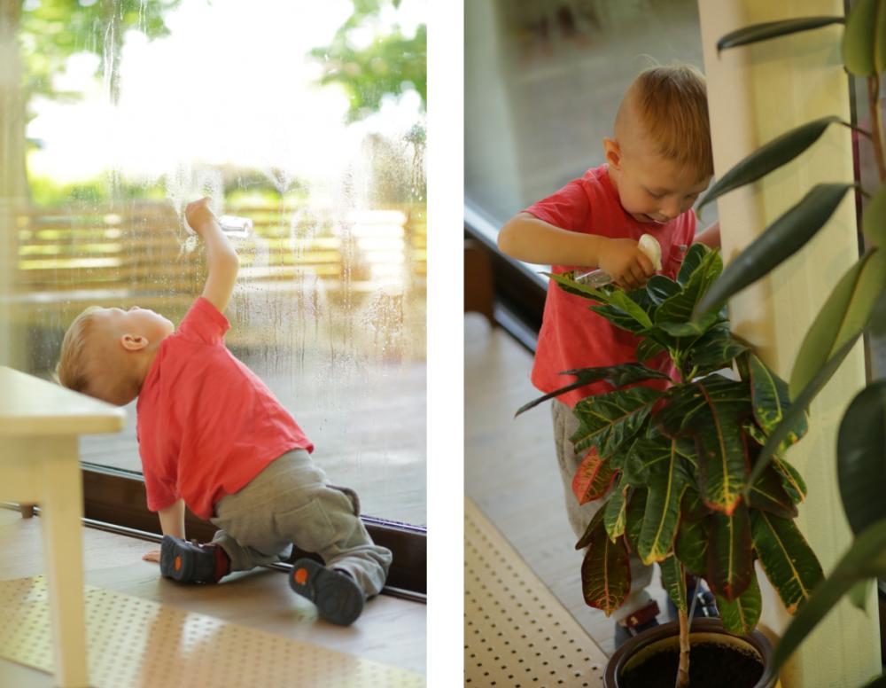 Ребёнок моет окно и опрыскивает цветы