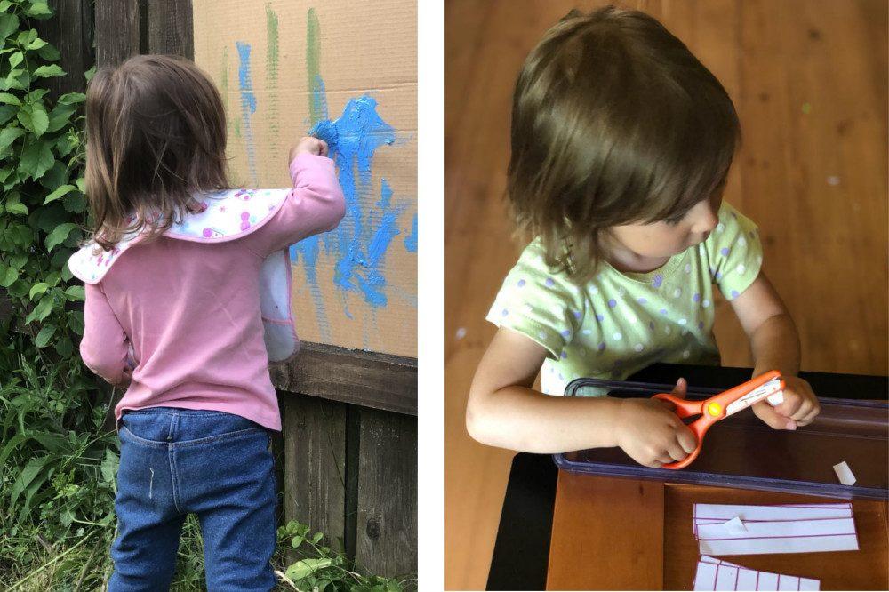 Маруся рисует и нарезает ножницами