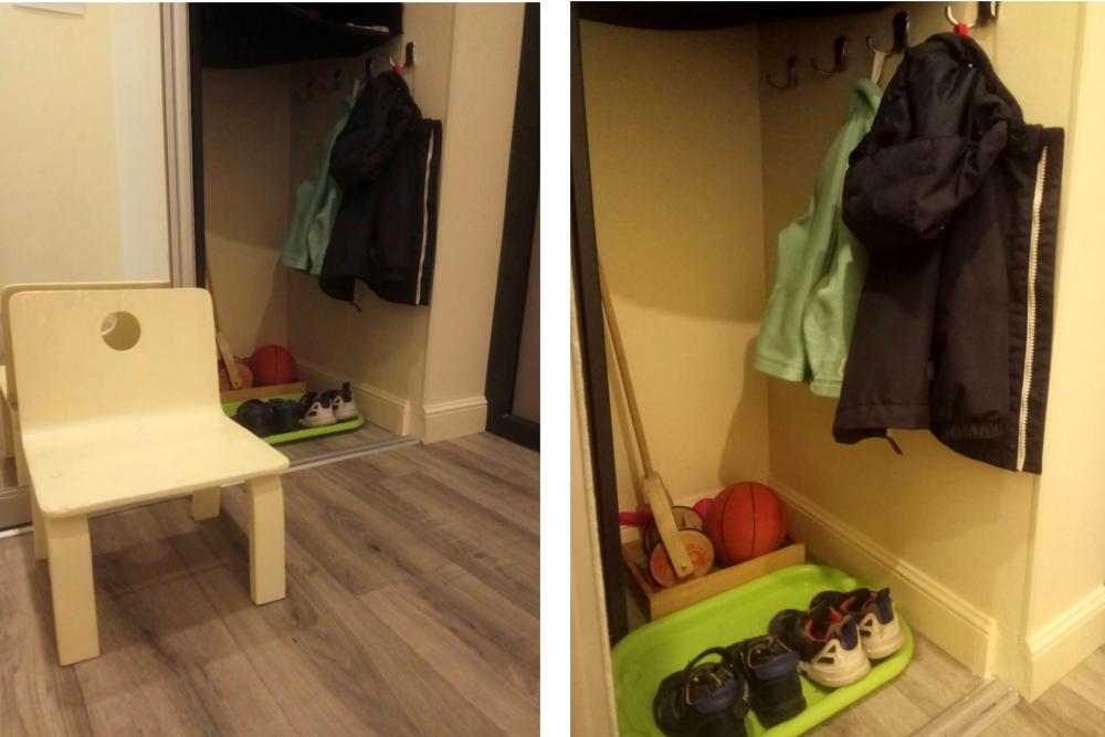 Место детей для верхней одежды и обуви в коридоре