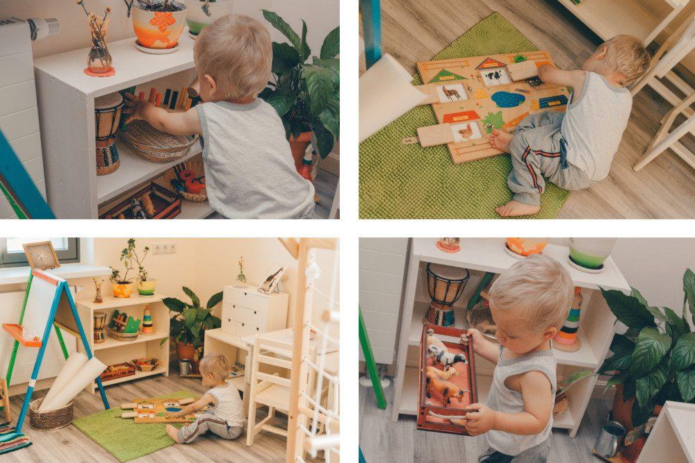 Ребёнок самостоятельно играет и убирает игрушки на место