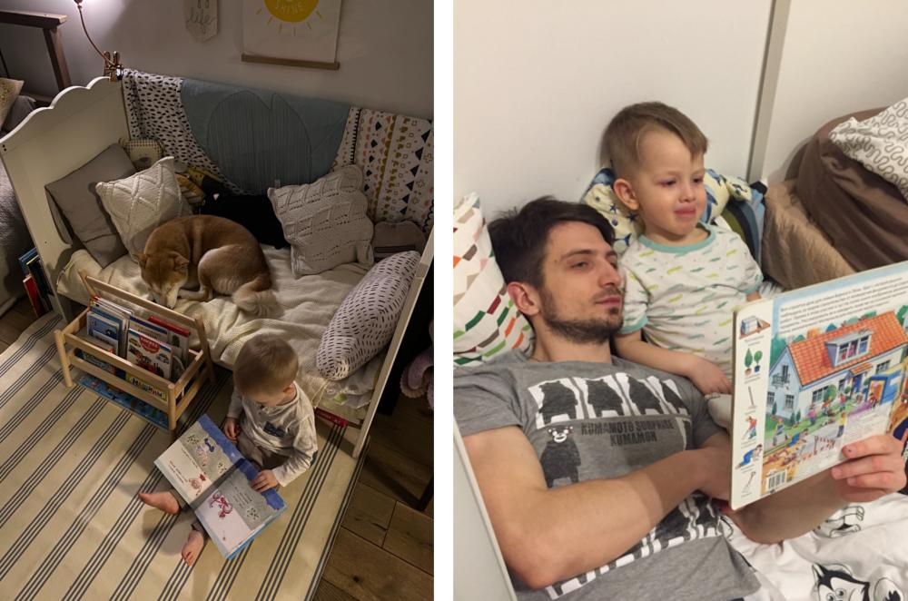 Ребёнок сам читает книжку или вместе с папой