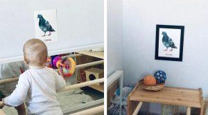 Картина для ребёнка с голубем в рамке и без