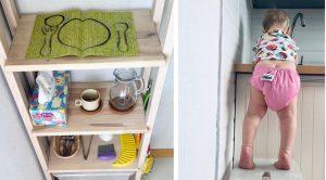 Шкаф с посудой и ступенька у раковины для ребёнка на кухне