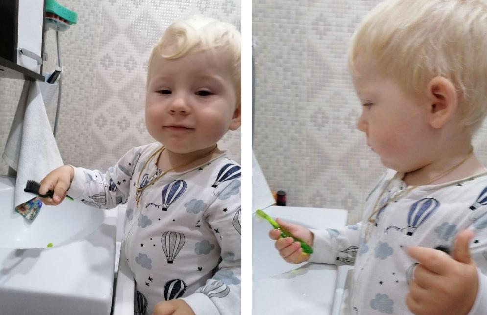 Ребёнок сам чистит зубы