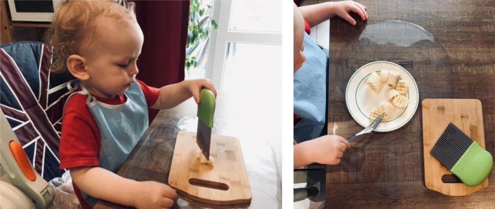 Ребёнок 2 лет нарезает и ест банан