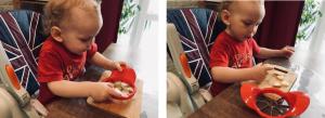 Ребёнок 2 г разрезает яблоко