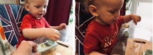 Ребёнок натирает яблоко на тёрке