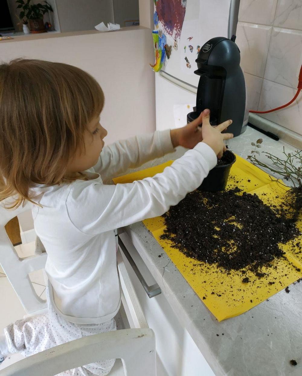 Ребенок сажает цветок в горшок