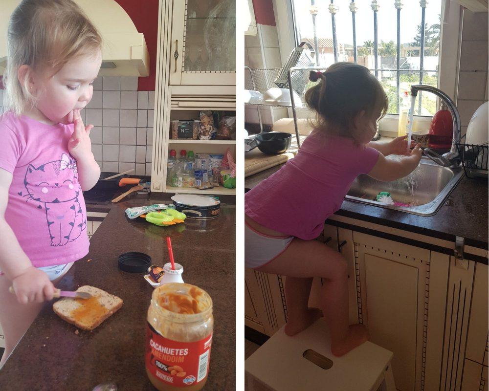 ребёнок готовит и моет посуду