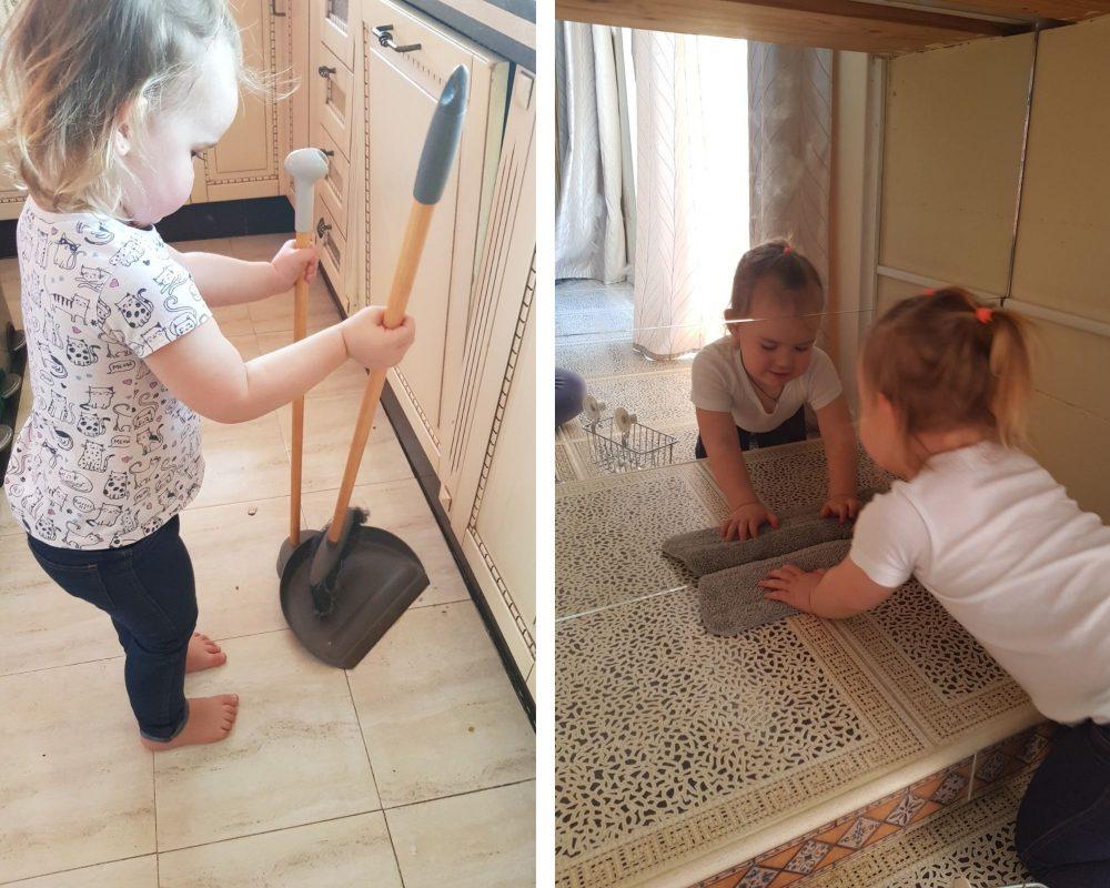 ребёнок помогает убираться