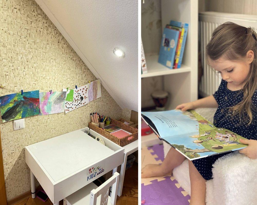 девочка читает и рисует