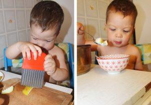 Ребёнок готовит фруктовый салат