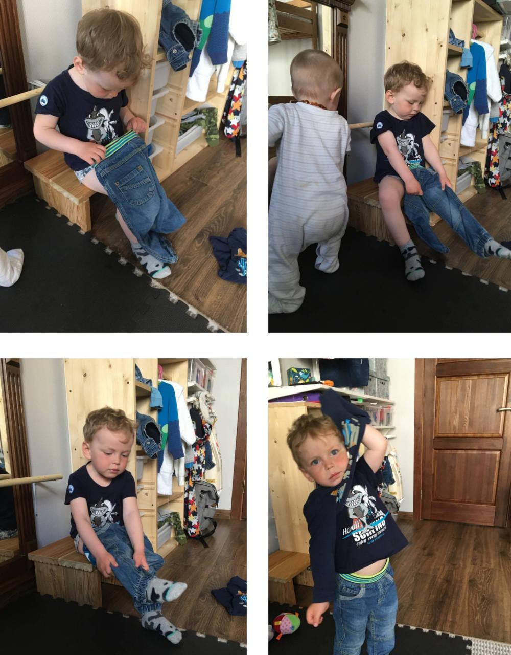 Ребенок одевается на прогулку